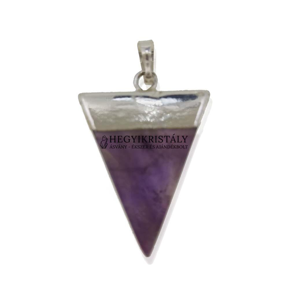 Háromszög alakú ametiszt medál