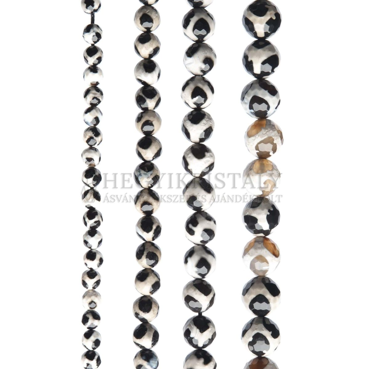 Achát panda fekete fazettált füzér