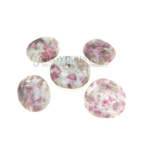Turmalinkvarc rózsaszín lapos marokkő