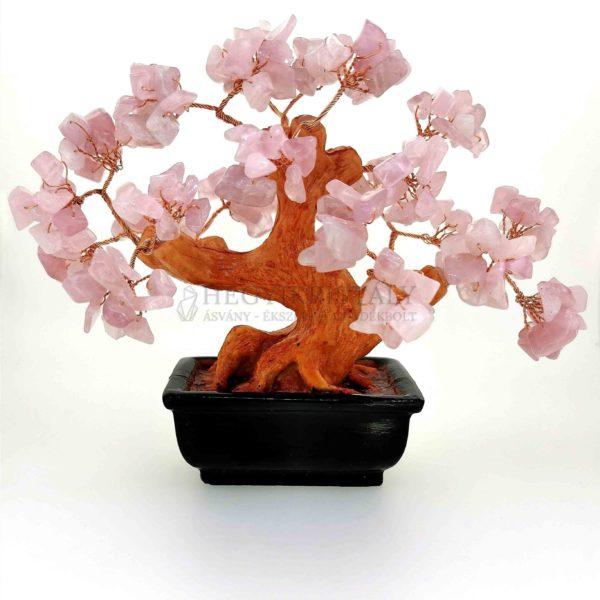 Bonsai alakú rózsakvarc életfa (szerencsefa)