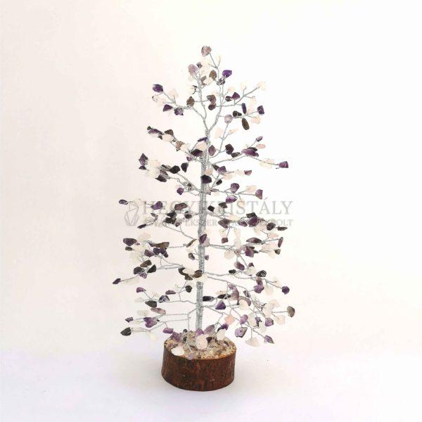 Fenyő alakú ametiszt, rózsakvarc életfa (szerencsefa)