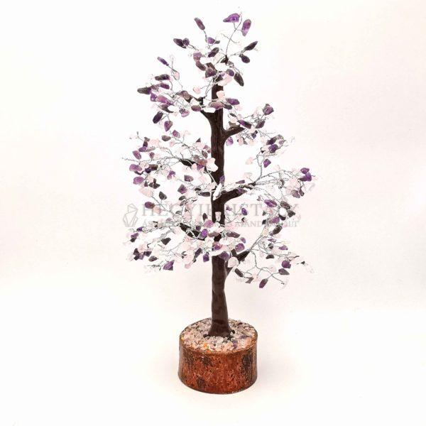 Platán alakú ametiszt és rózsakvarc életfa (szerencsefa)