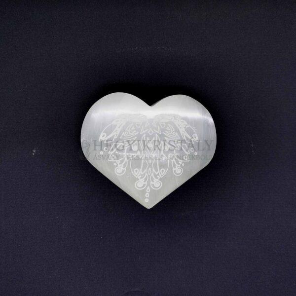 Szelenit szív lótusz motívummal