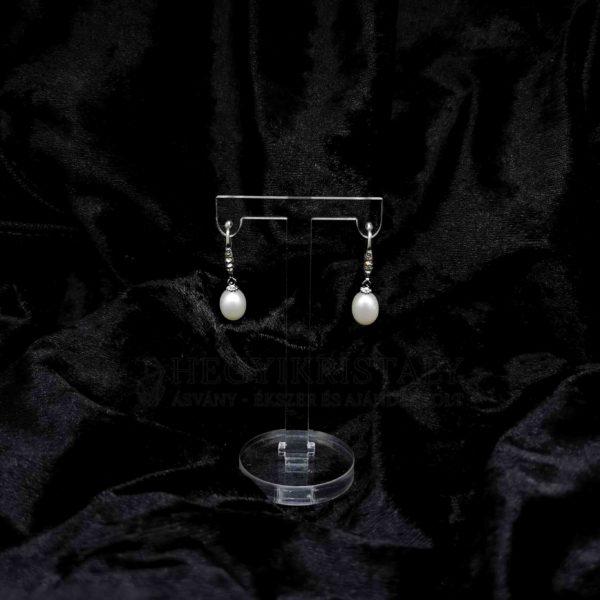 Cirkóniával díszített gyöngy fülbevaló