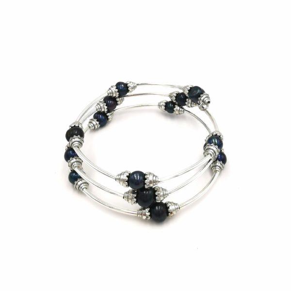Édesvízi tenyésztett gyöngy karkötő (kék)