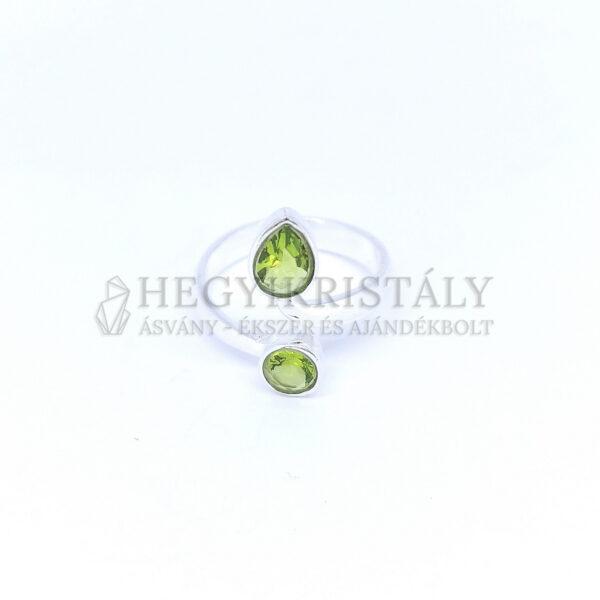 Olivin (Peridot) ezüst gyűrű állítható
