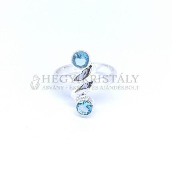 Cirkónia ezüst gyűrű állítható (kék)
