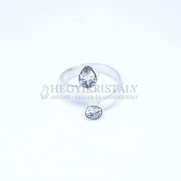 Cirkónia ezüst gyűrű állítható