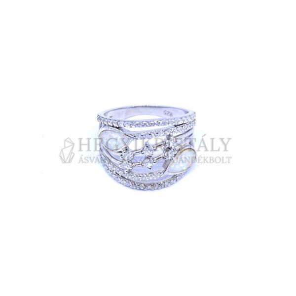 Szintetikus opál ezüst gyűrű